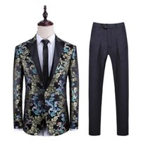 Men's Suits & Blazers Casual Blazer Men Groom Suit Set With Pants Mens Wedding Costume Singer Star Style Dance Stage Clothing Formal Dress
