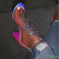 Sandals Women Summer High Heels Shoes Woman Peep Toe Clear Transparent Sexy Shiny Crystal Sandalias Mujer Sapato Feminino D1260