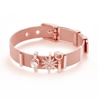 Charm Bracelets Drop Mesh Bracelet Set Stainless Steel Crystal Snowflake Brand For Woman Valentines Gifts