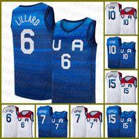 Basketball Jersey Team Amerika 2021 USA Tokyo Sommer Olympiade Dunkelblau Weiß Damian 6 Lilard Kevin 7 Durant Jayson 10 Tatum Devin 15 Booker Gold Braun Beige Weiß