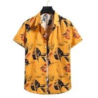 Men's Casual Shirts 2021 Hawaii Summer Leisure Linen Short Sleeve Flower Shirt Beach Surfing Fashion
