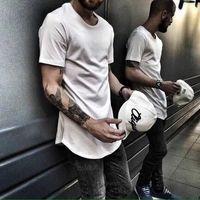 ZSIIBO TX135-C T-shirt Homme T-shirt EXTENDU ROND T-shirt T-shirt Curved Hem Long Line Tops Hip Hop Urban Blankwear Y0809