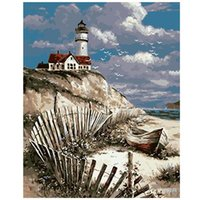 Paintings AMTMBS Picture By Numbers The Lighthouse Boat Drawing On Canvas HandPainted Art Portrait DIY Oil Paint Home Decor