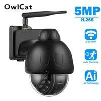 Owlcat Black Aluminio 5MP WiFi Dome Auto Seguimiento de la cámara IP Spinning impermeable inalámbrico IR Noche CCTV Audio Talk Memoria Tarjeta SD H0901