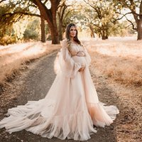 Wraps & Jackets Champagne Long Sleeve Maternity Dresses For Baby Showers Tulle Off The Shoulder Women Bathrobe Lingerie Sleepgowns Nightwear