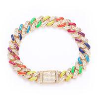 Unique Design 12mm 7 8inch Men Women Bling Bracelet Gold Plated Micro Setting CZ Colorful Bracelet Chains For Men Women Jewelry Gift