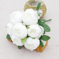 시뮬레이션 차 로즈 7 헤드 인공 실크 모란 꽃 축제 결혼식 홈 DIY 분위기 장식 꽃 HWE5629