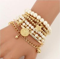 6pcs set Gold Silver Color Link Chain Pearl Beads Bracelet Star Multilayer Beaded Bracelets Set for Women Charm Party Jewelry Gift
