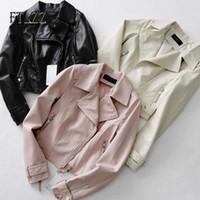 Moda Kadınlar Streetwear Stil Faux Deri Ceket Bahar Sonbahar Ince Fermuar Gümüşme Yaka Pembe Leaveer Coat Palto 210602