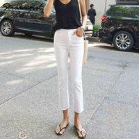 Streamgirl Beyaz Kot Kadınlar Için Sıska Sonbahar Denim Pantolon Capris Düz Siyah Skinny Kot Kadın Yüksek Bel Ayak Bileği Denim Pantolon Y0320