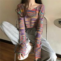 Women's T-Shirt V-neck Rainbow Tie-dye Long-sleeved Sweaters Women Cotton Striped Tops Harajuku Tshirt Navel Skinny Punk Crop Top Tee