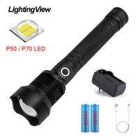 LightingView P50 / 70 LED الألومنيوم في الهواء الطلق عالية الطاقة الوهج التكتيكي للمشي التخييم 18650 بطارية USB شحن المشاعل torc