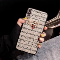 Luxurys Designers PU Leather Phone Cases For iPhone 11 Pro Max 12 mini XS XR X 8 7 Plus Fashion bee Cover Print cellphone case Shell