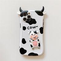 Casos de telefone de choque à prova de choque de vaca 3d bonito para iphone 12 11 pro max mini xr xs x 8 7 plus