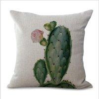 Cushion Decorative Pillow Cactus Plants Case Cotton Linen Cushion Cover Throw Succulent Vintage Home Sofa Room Seat Decor