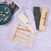المحمولة أدوات السكاكين خشبية سفر الخيزران أطباق مجموعات سكين عيدان شوكة ملعقة العشاء الأدواني أدوات التخييم 7 قطعة / المجموعة WLL1064
