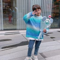 Pullover Kids Sweater Winter Fade Color Coat Girls Birthday Gifs Children Knitted Outwear Long Sleeve Casual Fashion Korean Style