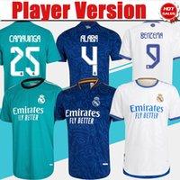 Versión del jugador Camiseta Real Madrid 3RD Green Soccer Jerseys 21/22 # 9 Benzema # 10 Modric # 8 Kroos Soccer Shirt # 25 Camavinga Men # 4 Alaba Uniforme de fútbol