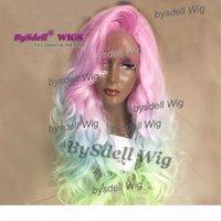 Sexy sirena arco iris flor colorido pelo frente encaje peluca resistente al calor pelo gran franja indio indio onda onda pelo encaje delantero cosplay pelucas