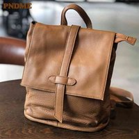 PNDME natural real cowhide women backpack vintage genuine leather simple small bagpack travel soft mini cute bookbags for girls 210401