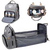 Mochila do saco de fralda do bebê com sacos de fralda para sacos de bebê com cintas impermeáveis da carrinho de criança impermeável do curso de Bassinet 210727