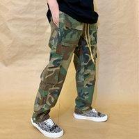velho fazer rhude lavagem estilo militar camuflagem multi bolso calça perna fivela tubo reto solto casual macacão calças