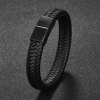 Charm Bracelets Jiayiqi Punk Men Jewelry Black Brown Braided Leather Bracelet Stainless Steel Magnetic Clasp Fashion Bangles Gift 18.5 22 20