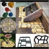기타 소모품 DIY 플라스틱 경로 메이커 곰팡이 수동 포장 시멘트 벽돌 스톤 도로 콘크리트 금형 포장 정원 홈 장식 FNUAR