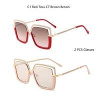 Güneş Gözlüğü Lüks Kare Kadın Erkek Alaşım Zincir Çerçeve Güneş Gözlükleri Marka Tasarım Kadın Shades Bayanlar Moda Trend Gözlükler