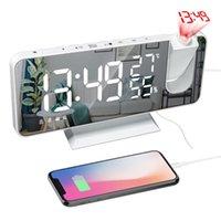 "Radio 7.5"" LCD LED FM Digital Projector Projection Snooze Alarm Clock Dual Watch Table Electronic USB Desktop Clocks"