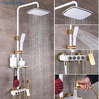 Misturador Chuveiro Bathroom Black High-pressure Shower System Wall Rainfall Bath Mixer Tap Luxury Sprinkler Set Full Gold Kit Sets