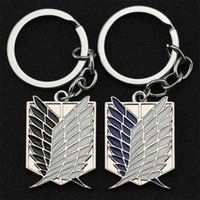 Attack On Titan Keychain Wings of Liberty Freedom Scouting Legion Eren Keyring Key Holder Chain Ring New Anime Jewelry Wholesale 210410
