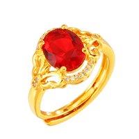 Plattieren von 24 k Gold Ring Emerald Blue Crystal Glass Stone Lord 8 * 10 National Wind Aperture Budding und Luxus Weibliche Rubin
