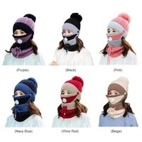 3pcs Set Winter Women Knitted Hat Scarf Outdoor Sports Cycling Skiing Skating Fleece Warm Face Mask Neck Caps Scarf Set Kit