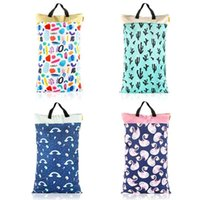 HappyFlute Polyester PUL Waterproof Baby Bags for Mom Baby Stroller Use 40*70cm Big Size Double Packet Diaper Wet Bag 210923