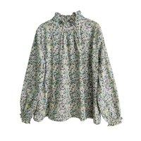 Johnature Women Print Цветочные футболки хлопчатобумажные сладкие весенние новые 10 цветов водолазки с длинным рукавом Mori девушка повседневная футболки 210412