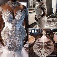 Lujo 2021 Cuello alto Sudafricano Sirena Vestidos de novia Cristales de encaje Beading Mangas largas Vestido nupcial Cuello alto Tallas grandes Vestíodos