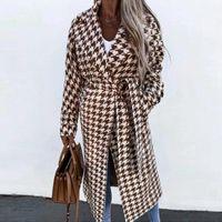 Women's Wool & Blends Elegant Lapel Women Vintage Jackets Outwear Autumn Winter Long Sleeve Houndstooth Overcoat Casual Loose Belted Coats S
