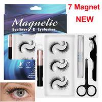 3d magnetische falsche Wimpern + Flüssigkeit Eyeliner + Pinzette + Wimpernschere Eye Protein Pflege Make-up Set 3 Paare 7 Magnet Gefälschte Wimper natürlich wiederverwendbar Kein Kleber erforderlich