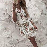 Vestido Vintage Mulheres Wrap Verão V-Pescoço Boho Floral Imprimir Elegant Senhoras Férias Beach Mini Sol Plus Size