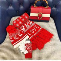 5SETS DHL Classic Christmas Red Hat + Tassel Scarf + Gloves 3Pcs Set Knit Snowflake Tree Reindeer Xmas Pom Beanie Caps Big Kids Child Teenagers Headwear G111JJUL