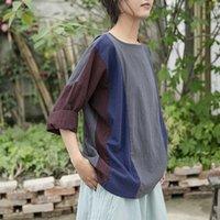 Johnature Kadınlar Patchwork Renk T-Shirt O-Boyun Uzun Kollu Pamuk Keten Giysileri 2021 Bahar Vintage Kadın Gevşek Kadın T-Shirt