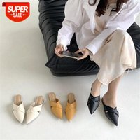 Apricot Baotou half slippers female outer wear 21 summer new fashion wild pointed lazy flat bottom ins tide #n87m