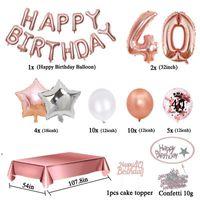 파티 장식 35pcs / 세트 40 생일 장식 장미 골드 년 색종이 조각 풍선 식탁보 40 번째 여자 남자 데코 애벌레 DWD242