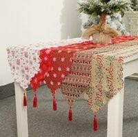 Weihnachtstischflagge Neujahr Bettwäsche Drucktisch Tuch Kreative Weihnachten Schneeflocke Elch Tischläufer 180 * 35 cm