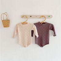 NG ins جودة الرضيع السروال القصير الربيع الخريف جوفاء محبوك الكشكشة طوق حللا bodysuits 1845 z2