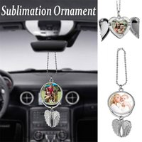 Sublimation Big Wings Necklace Pendants Sublimation Blanks Car Pendant Angel Wing Rearview Mirror Decoration Hanging Charm Ornaments
