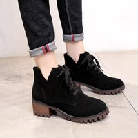 Boots Spring Autumn Ankle Boot British Fashion Women Suede Round Head Non-slip High-heeled Shoes Gb67y