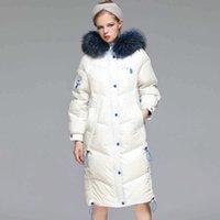 Light Luxuryparka 2020 Down Bianco Cappotti per le donne Ultra Long New Winter Big Collo Colletto Allentato Giacca Coreana Medio Lunghezza GOOS BRAND