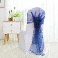 Fajas 25pcs 65 x 275cm silla de organza Capuchas Tulle Body Bow Sash Tie Caps para el evento del evento Decoración de banquete